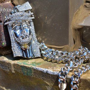 Other - Iced Out XL Size Jesus Head Pendant, Cuban Chain